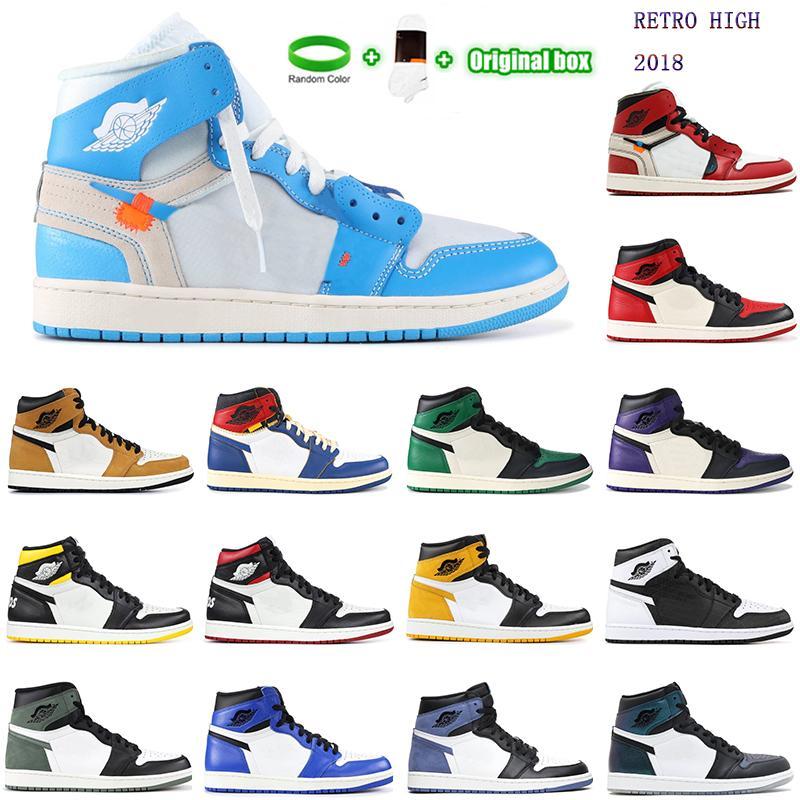 [Con caja]Air Jordan 1 4 Jordans x Off-White shoes Nombre de la articulación de alta calidad New Jumpman 1 Zapatos de baloncesto Unión 4 Zapatos Hombres y mujeres Pink Blue Blue OC