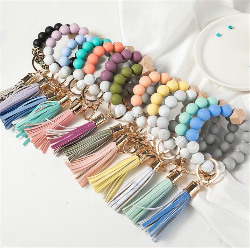 14 Farben Holz Quaste Perle String Armband Keychain Food Grade Silikon Perlen Armbänder Frauen Mädchen Schlüsselanhänger Handgelenkband GWF10251