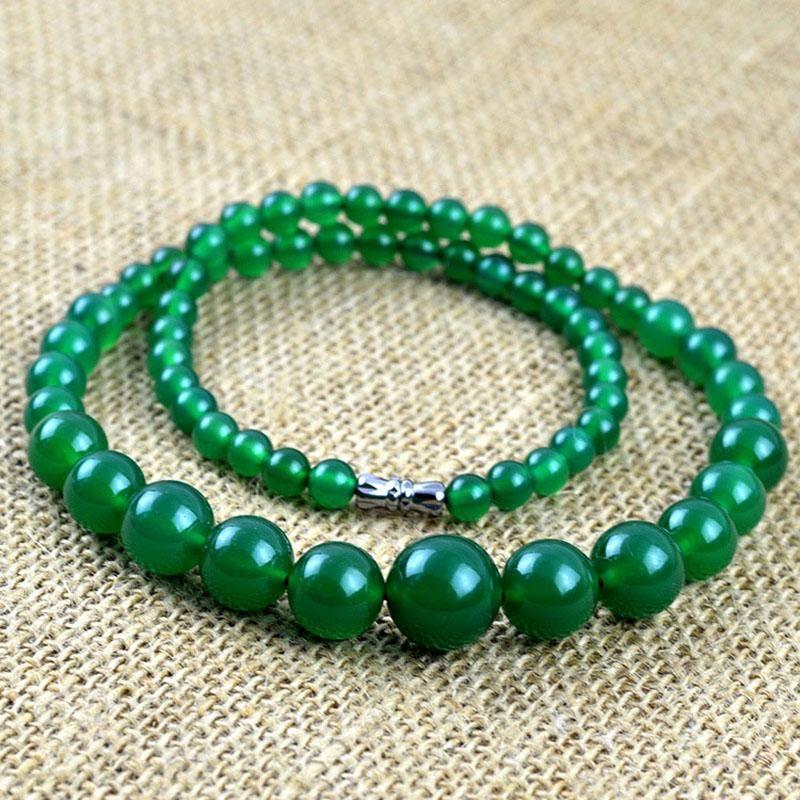 Collane in pietra semi-preziosa verde classica per le donne 6-14mm perline rotonde perline a torre catena girocollo collana regali di Natale LN031220 Girotockers