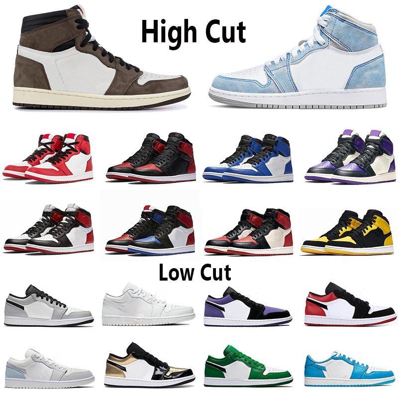 Nike air jordan 1 Low Basketball Shoes Düşük 1 1s basketbol ayakkabıları kutusuz OG siyah ayak mahkeme mor SP Travis Scotts erkekler spor ayakkabısı Eur 36-46 top