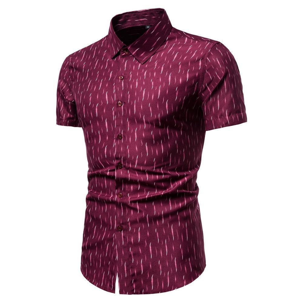 Erkek Casual Gömlek Erkekler L Pamuk Kısa Kollu Gömlek 2Q6i