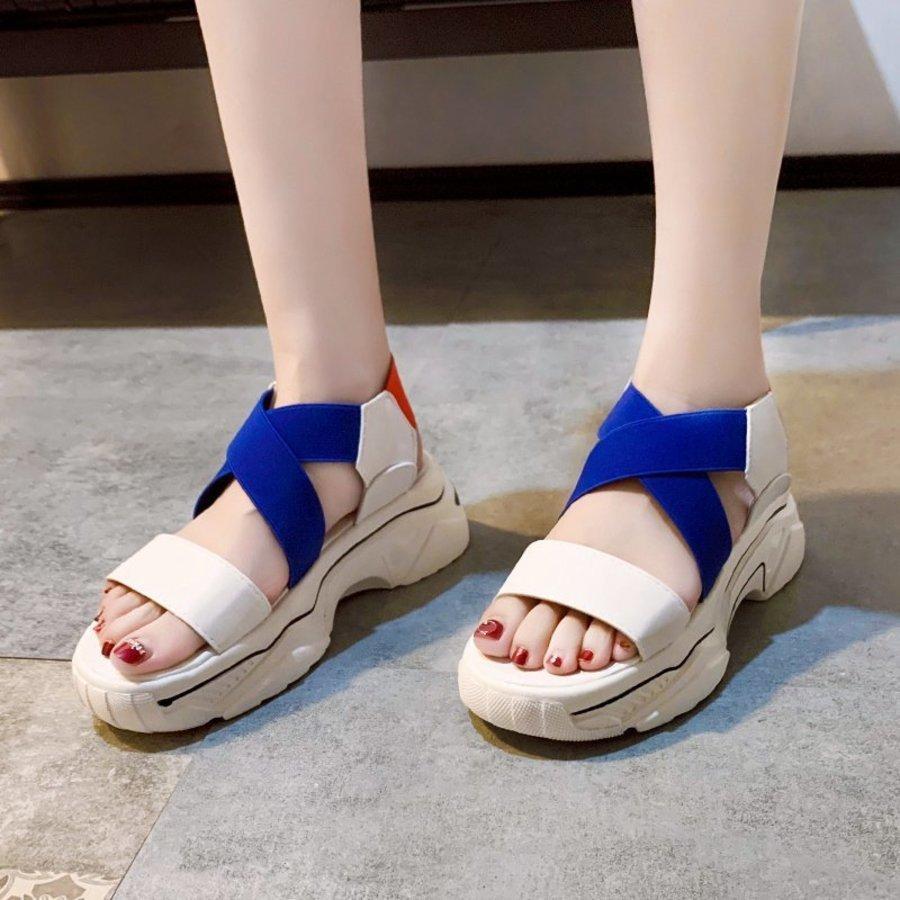 Untere Frauen dünnsommer sommer neue elastische kreuz verband mode student sport stil sandalen frauen 7qoc
