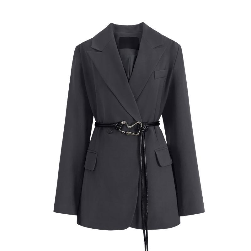 Women's Suits & Blazers Dark Spring And Autumn Casual Suit Loose Thin Jacket Mid-length Lace-up Tassel Waist Texture