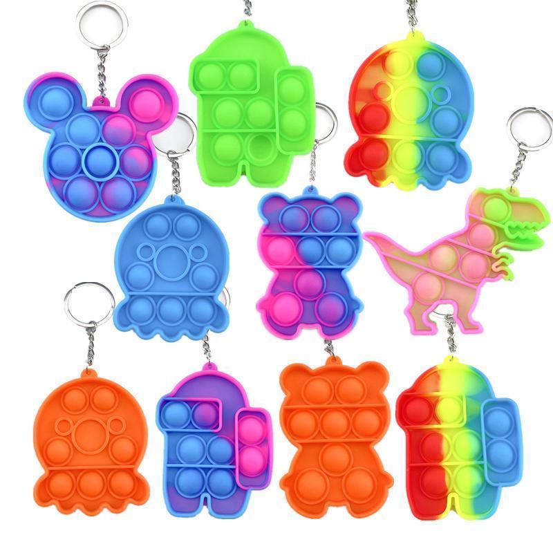 팝 it fidget toy sensory 쥬얼리 키 체인 푸시 푸시 푸기 만화 간단한 딤플 장난감 키 체인 스트레스 reliever DHL 배송