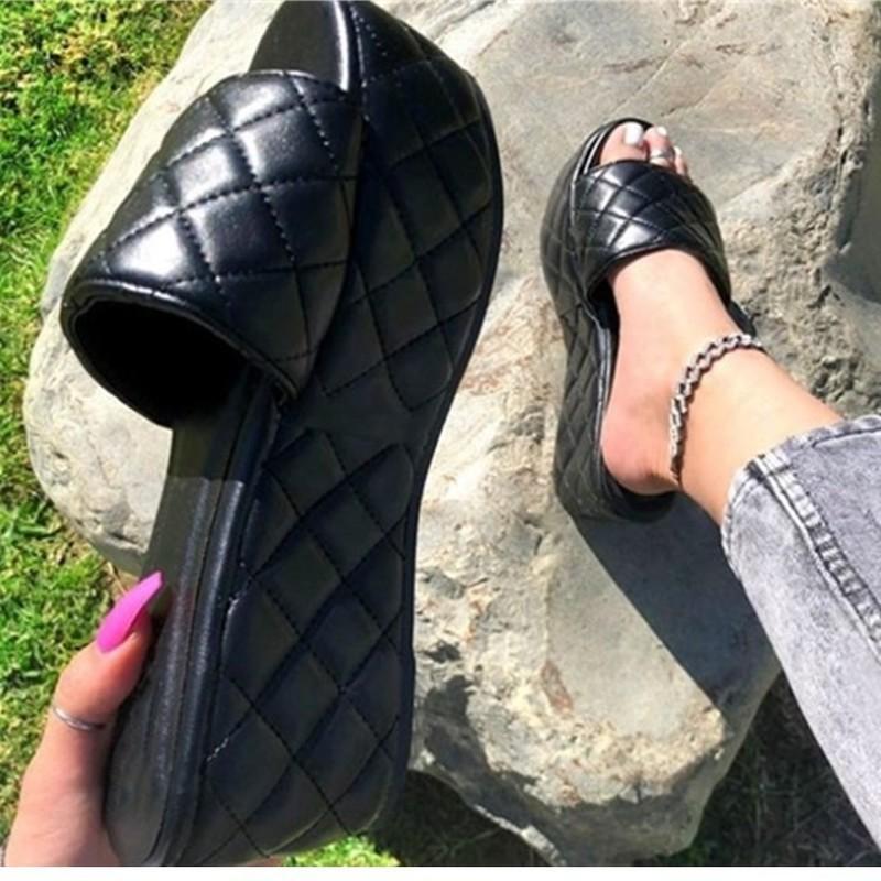 كبير الحجم أسود أبيض أزياء المرأة منصة الصنادل أحذية للنساء 2021 sandalias ساندليس امرأة إمرأة zapatos موهير