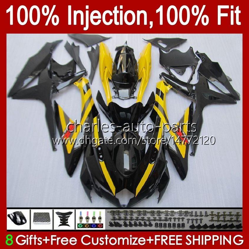 Molde de inyección para Suzuki GSXR600 K8 GSX-R750 GSXR-600 GSXR-750 GSXR750 Bodywork 9HC.37 Amarillo Black GSX-R600 2008 2009 2010 GSXR 600 750 CC 600CC 750CC 08 09 10 Carreyo