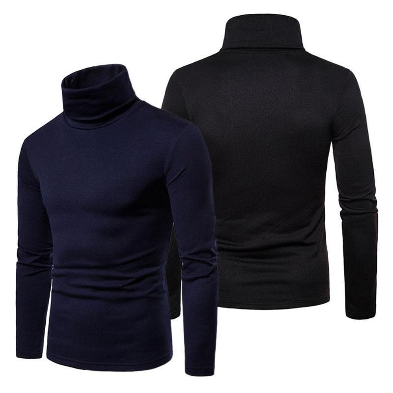 Мужчины Тепловые хлопчатобумажные свитера высокой шеи растягивают рубашку рубашки
