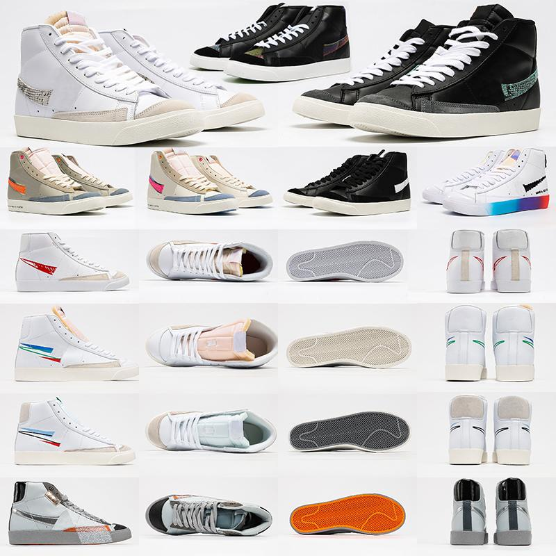 2021 Blazer Mid 77 Vintage Hommes Low Hommes Femmes Chaussures Casual Noir Blanc Blanc Multi Couleur Foam Rose Pacific Blue Kumquat Thermos Thermal Hommes Baskets Platformers