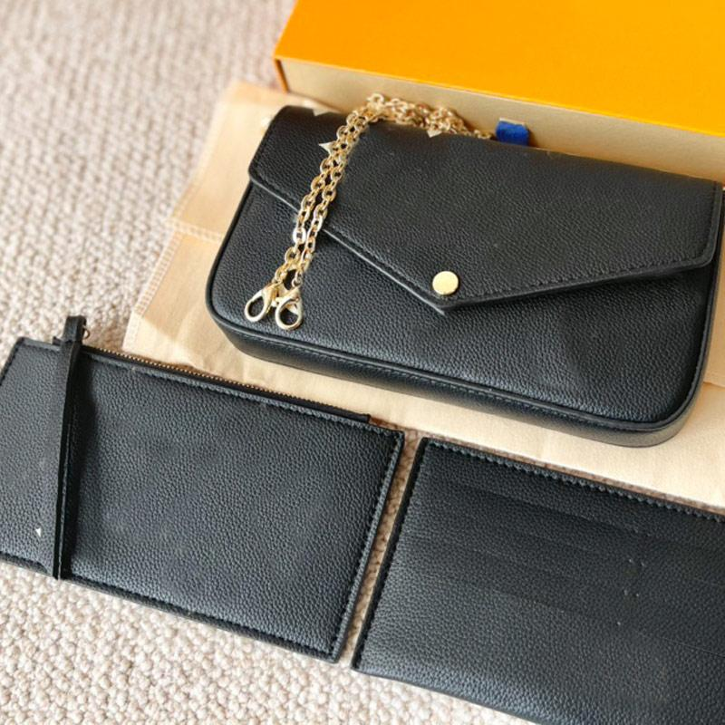 3pcs Set Shoulder Bag Women Handbag Wallet Favorite Multi Pochette Accessories Chain Crossbody Bags Classic Letter Old Flower Clutch Flap Handbags Purse with box