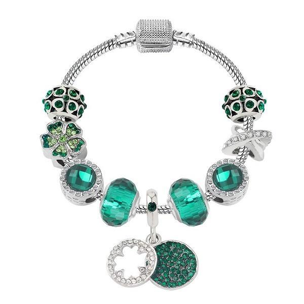 الأزياء 925 الفضة الاسترليني الأخضر الكريستال مورانو lampwork الزجاج الأوروبي سحر الخرز أربعة الإجازة البرسيم استرخي يناسب باندورا سحر أساور قلادة b8