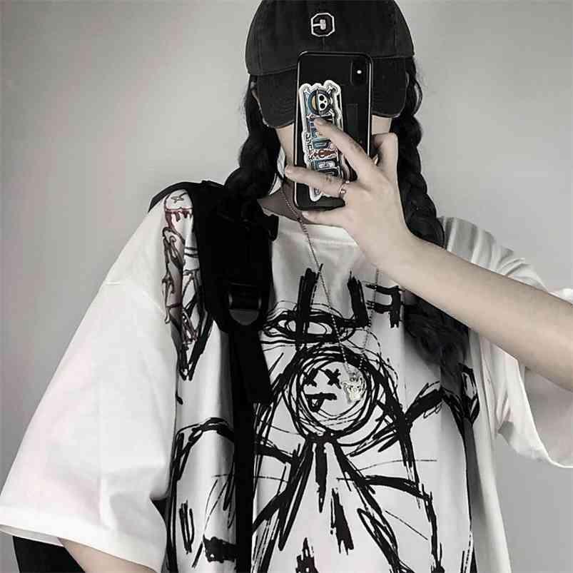 Gothic Vintage Preppy Camiseta T-shirt Mulheres T-shirt Roupa Streetwear Harajuku High Street Tops Verão Tshirt 210623