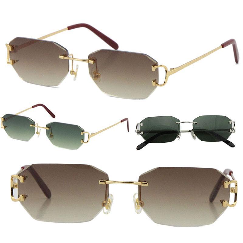 Venta de gafas de sol sin montura vintage Piccadilly Irregular Sin marco de diamante Lente de corte de diamante Retro Moda Avant-Garde Design UV400 Color claro Gafas decorativas