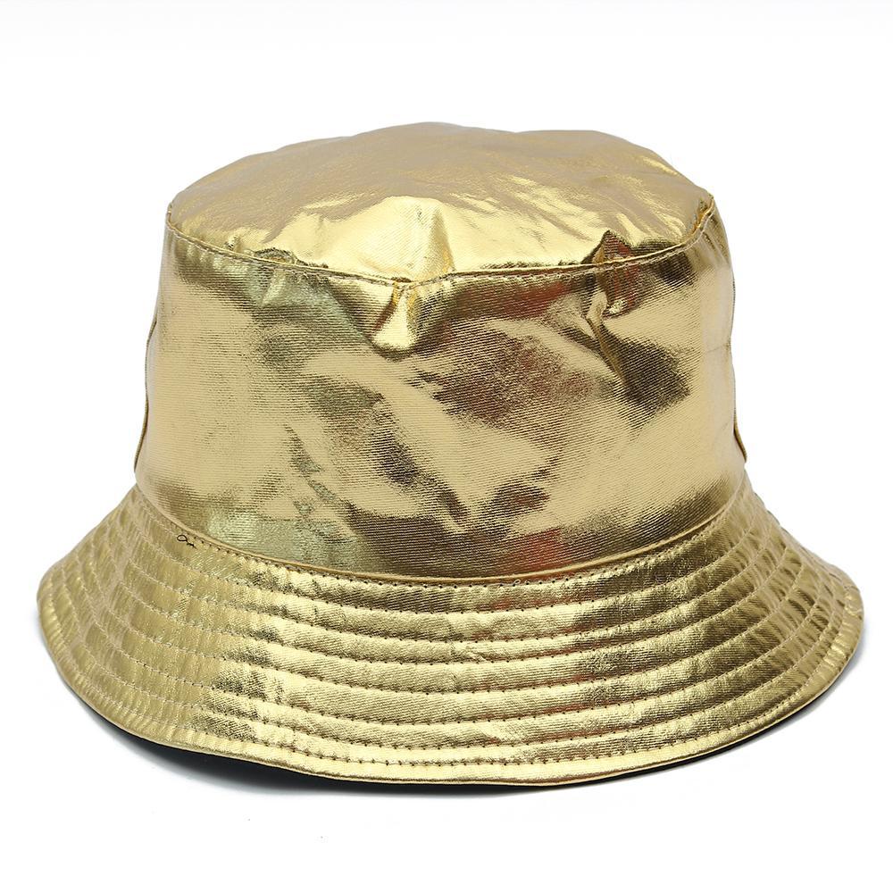 금과 실버 하라주쿠 가역 양동이 모자 여자 남자 패션 가죽 낚시 모자 야외 여름 어부 모자