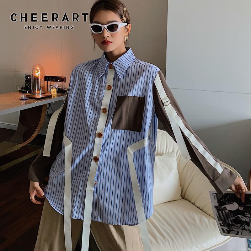 Женские блузки Рубашки Haterart Angland Style Blue Striped с длинным рукавом Блузка Женщины Лента Цвет Блок Кнопка Публиката Рубашка Дизайнер Топ 2021