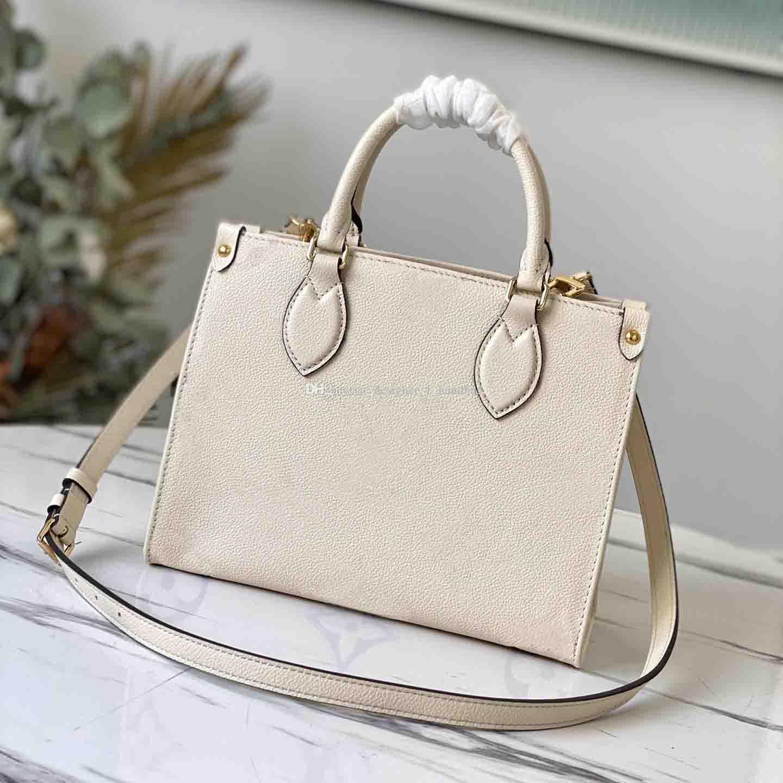 Damen Luxus Marke Shopping M45779 Damen Einkaufstasche und Mode Prägung Serie Onthego PM Classic Brief Brieftasche 25 cm 34cm
