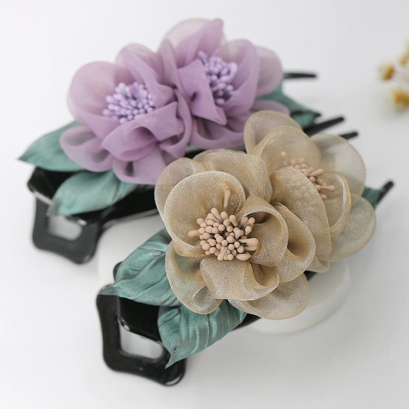 Crystal Gauze Flowers Hair Clips Duckbill Three Tooth Clip Fabric Art Headwear Clamps Women Fashion Lady Accessories 4 5cy N2