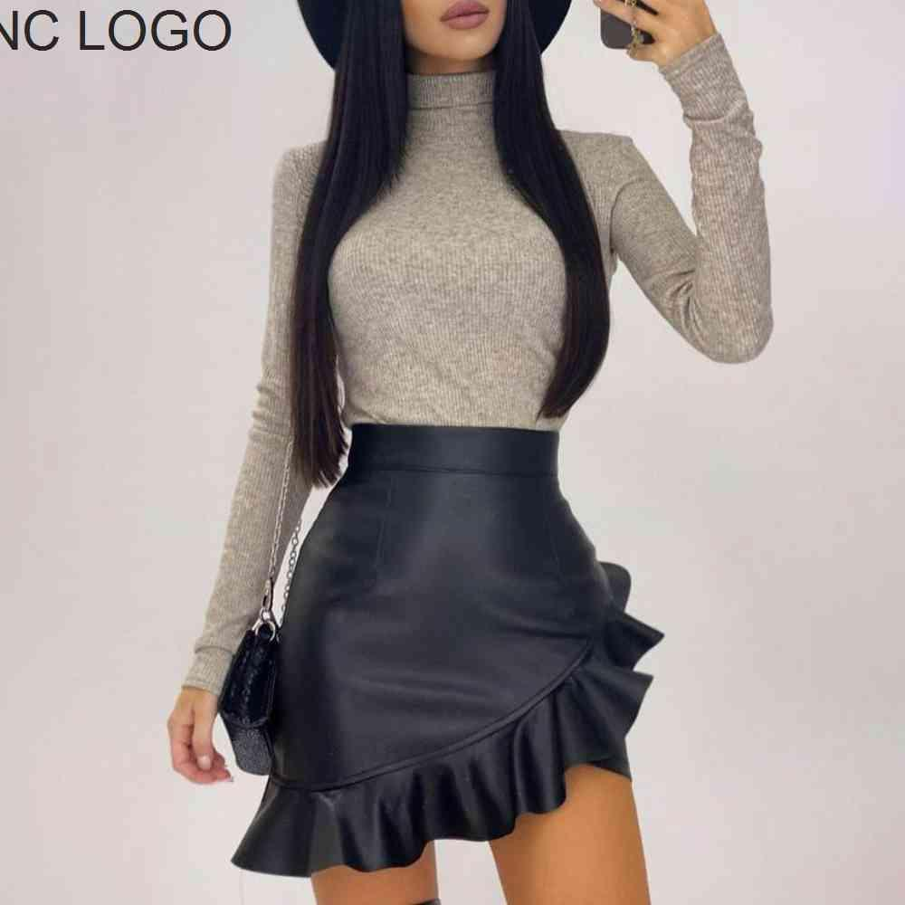 Sexy Leather Pu For Ladies Black Ruffle Asymmetric Women Mini High Waist Flare Fashion Office Female Skirt D25