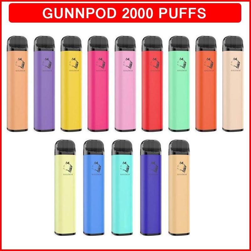 gunnpod 일회용 전자 담배 vape 펜 2000 퍼프 1250mAh 18350 배터리 전자 담배 8ml 포드 Ecigarette vapes