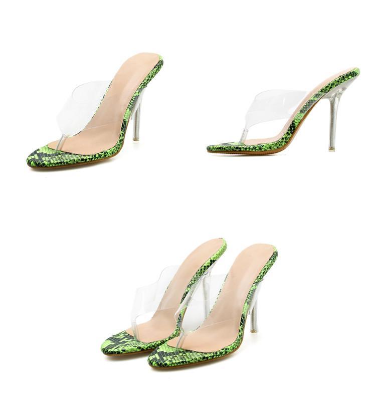 Eilyken Sommer Mode Sexy Klarer High Heel PVC Transparent Grüne Damen Hausschuhe Außerhalb Flip Flops Frauen Schuhe Größe 35-42 564EDAIEHJOIA
