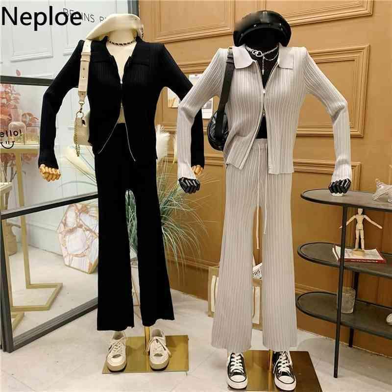 Vintage Casual Suit Kadınlar Turn-down Yaka Fermuar Hırka Yüksek Bel Geniş Bacak Pantolon Örme 2 Parça Setleri Femme Roupas 210422