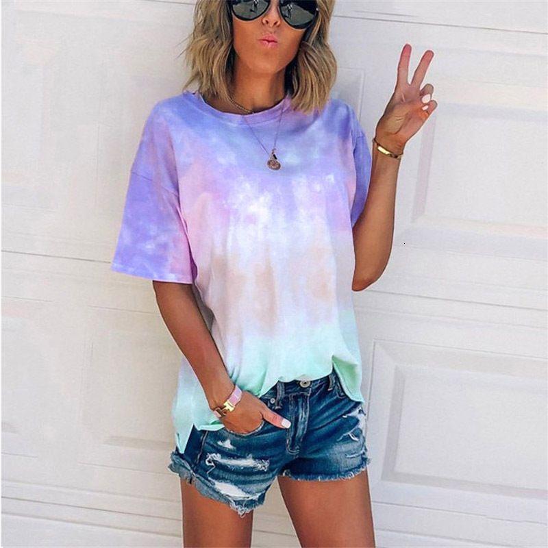 T Shirt summer tie-dye gradient printing loose casual T-shirt Ladies tops