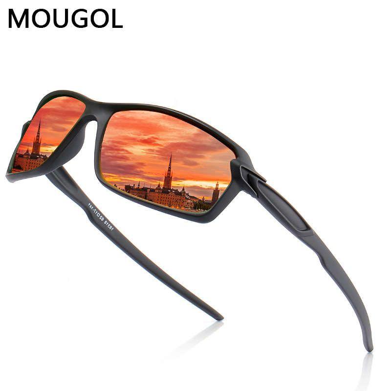 Mougol gafas de sol hombres / mujeres polarizadas, conducción al aire libre espejo clásico hombres, marcos de lujo UV400 gafas