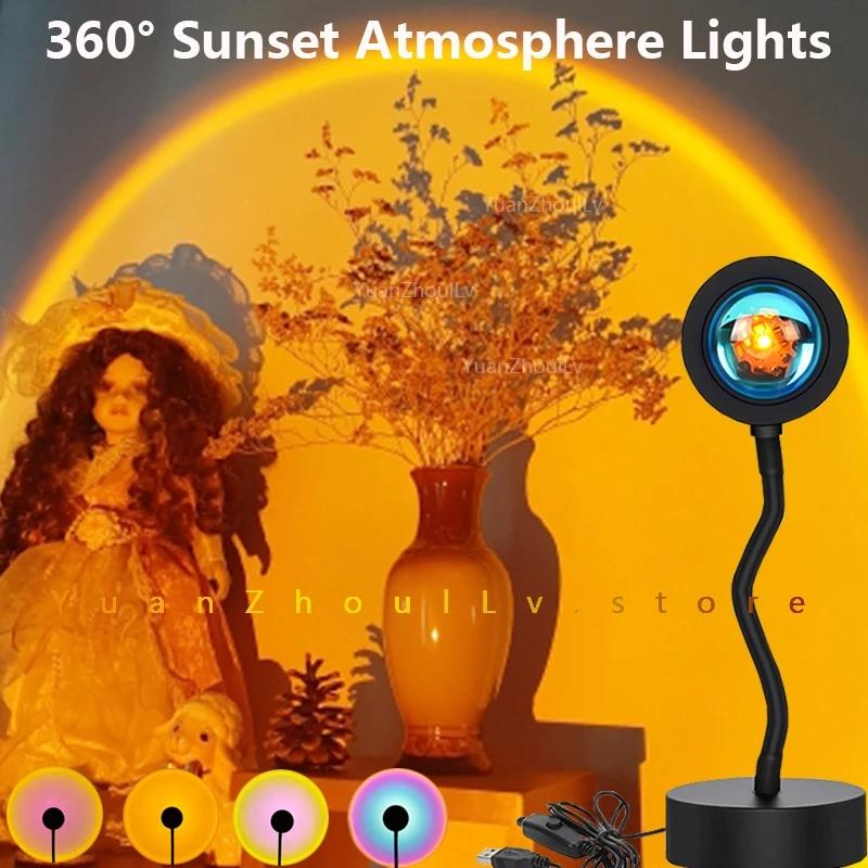 USB 360 градусов Пульт дистанционного управления RGB LED Sunset Lights Проекционная лампа Радуга атмосфера для домашнего спальня магазин фон украшения