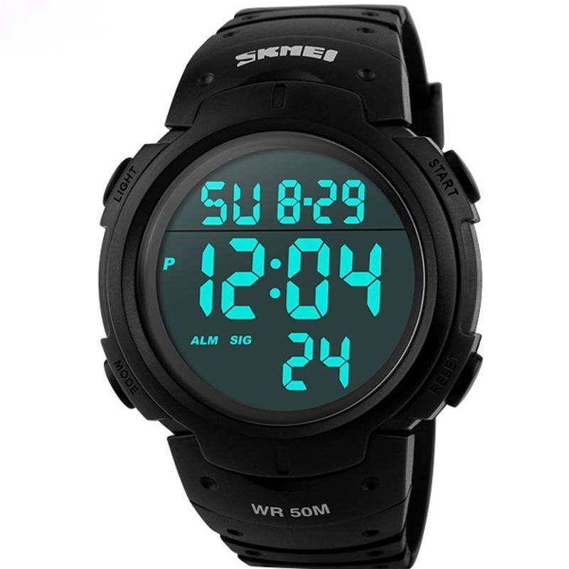 Erkek Spor Saatler Dalış 50 M Dijital LED Askeri İzle Erkekler Moda Rahat Elektronik Saatı Saat