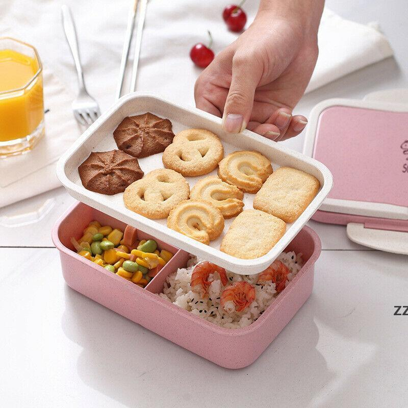 Storage Bottles & Jars Portable Healthy Material Lunch Box 2 Layer Wheat Straw Bento Boxes Microwave Dinnerware Food Container HWE9395