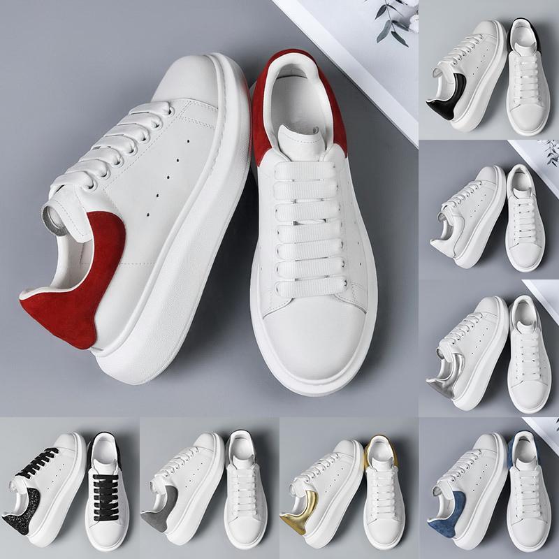Scarpe eleganti da donna Scarpe da ginnastica bianche rosse di alta qualità in pelle di alta qualità Bottom della piattaforma Designer Mocassini da uomo Moda all'aperto ginnastica