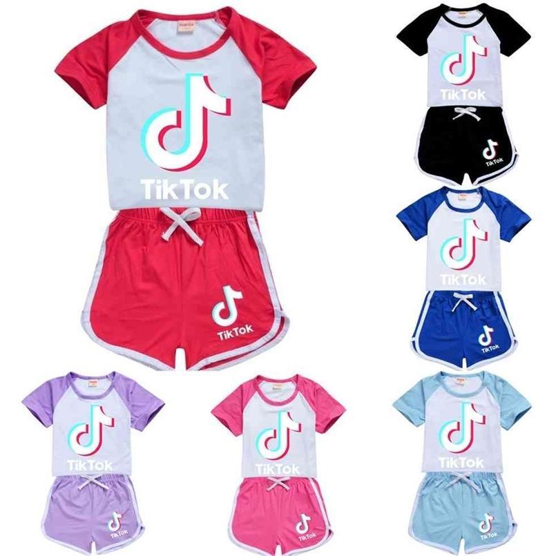 Mädchen Sommer Outfits Set Kinder Baby Junge Kleidung Trainingsanzug Tik Tok Tiktok Kinder Kleidung Shorts Sportanzug Trainingsanzüge G40Y46T