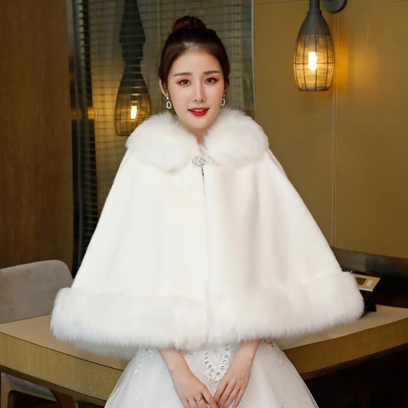Womens nupcial casamento peludo xale wrap roubou capa com strass fivela lapela engrossar quente capelet formal encolher cachecol
