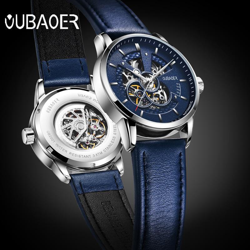 Automatic Fashion Leather Waterproof Mechanical Watch Hollow Men's