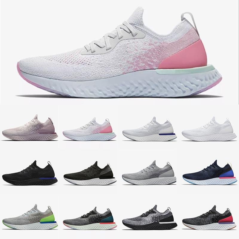 Preferencial Epic Reage Fly Knit V2 V1 Mens Mulheres Running Tênis Todos Branco Triple Black Pewter Fusion Outdoors Trainers Homens Sports Sneakers