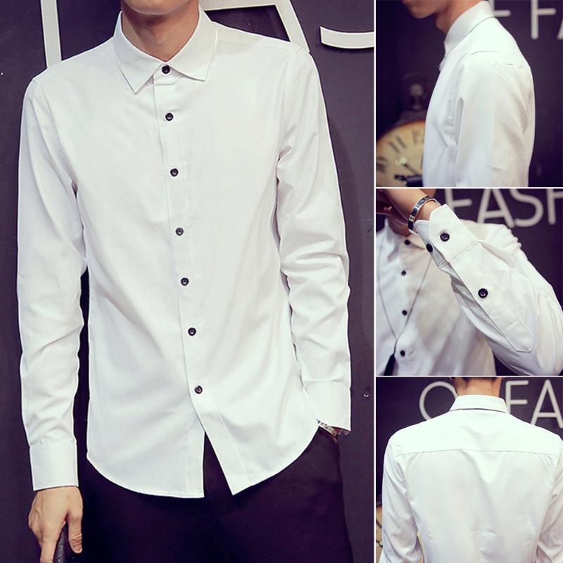 비즈니스 화이트 긴 소매 패션 봄 슬림 코튼 일일 솔리드 선물 남성 셔츠 버튼 탑 캐주얼 남성용 셔츠