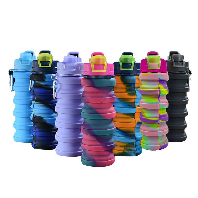 الإبداعية التمويه زجاجة المياه سيليكون أضعاف تلسكوبي بهلوان حلقة حلاقة الرياضة المشروبات الكؤوس المحمولة التخييم معدات التخييم 500 ملليلتر