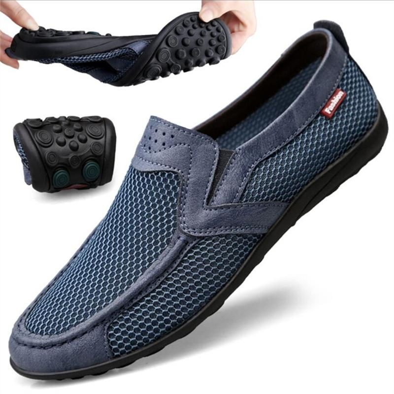 Spring and Summer net shoes men's casual breathable mesh sports one-foot large size walking old Beijing cloth 36-47