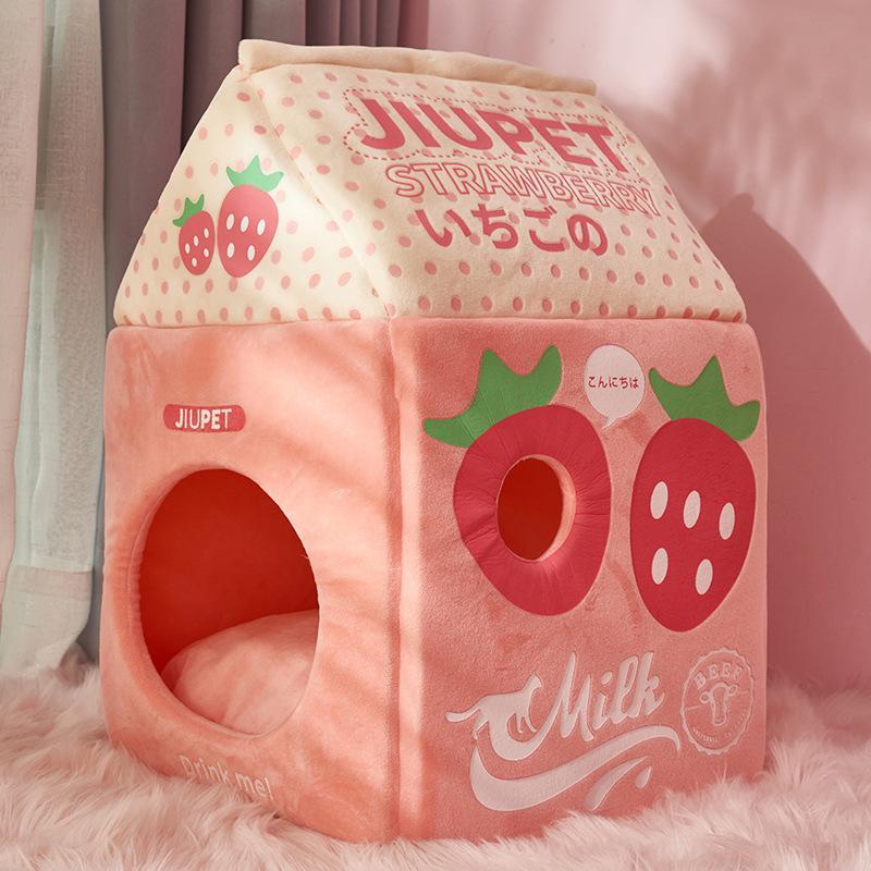 Клубничное молоко Банановое молоко кошка кровать кошка Дом 1178 V2