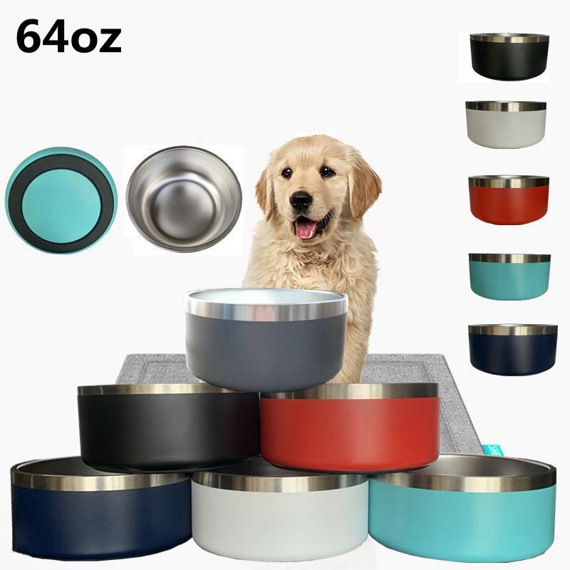 Cuencos para perros 32oz 64oz Tumblers de acero inoxidable Doble Pared Pet Food Bowl Capacidad grande 64 OZ Mascotas Suministros Tazas YFA2967