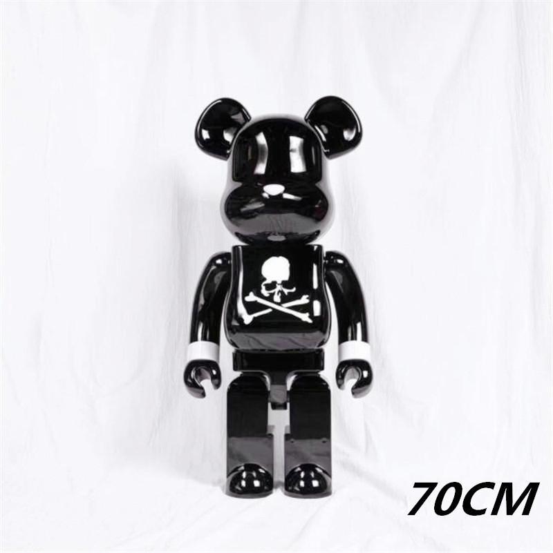 En Çok Satan 1000% 70 cm Bearbrick Kaçmak Tutkal Kafatası Beyaz Siyah Ayı Kollektörler için Oyuncak Rakamlar Oyuncak Be @ Rbrick Sanat Çalışma Modeli Süslemeleri Hediye
