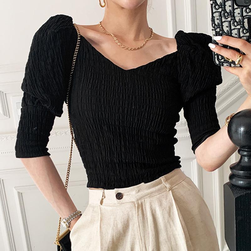 Рубашки женские блузки простой тонкий Fit V-шеи Элегантная блузка Женщины Корейский стиль Лето 2021 Пуловер Женщина Сексуальная Офис Леди Blusas Mujer