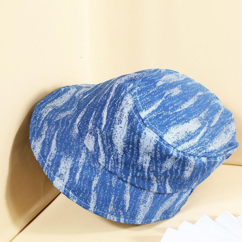 Bucket Chapéu Denim Impressão Fisherman's Hat Fashion's Moda Marca Sol Visor Cap Basin Homens e Mulheres Chapéus