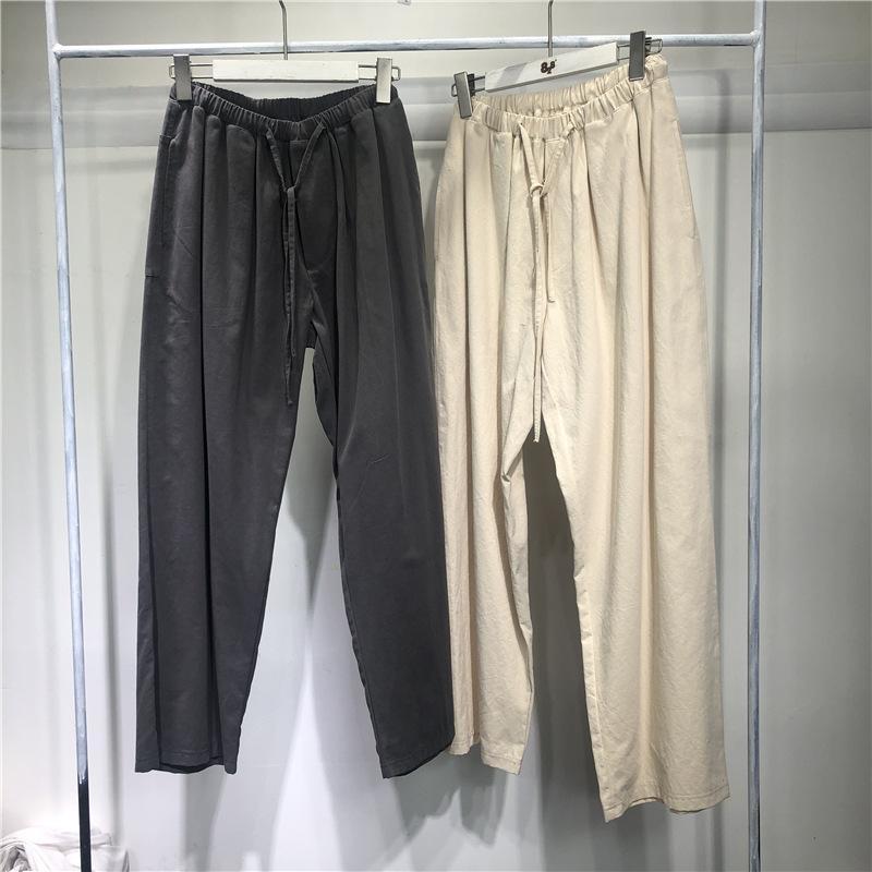 Pantalon de serrage droit décontracté printemps 2021 nouvelle mode Simple dentelle à lacets élastiques pantalons pour hommes et femmes
