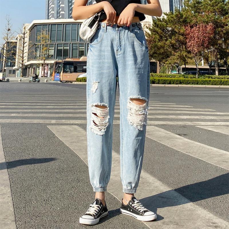 Vintage Damen Freund Ripping Jeans Für Frauen Mama Hohe Taille Jeans Blau Beiläufige Haremhose Koreanische Streetwear Denim Hose 210412