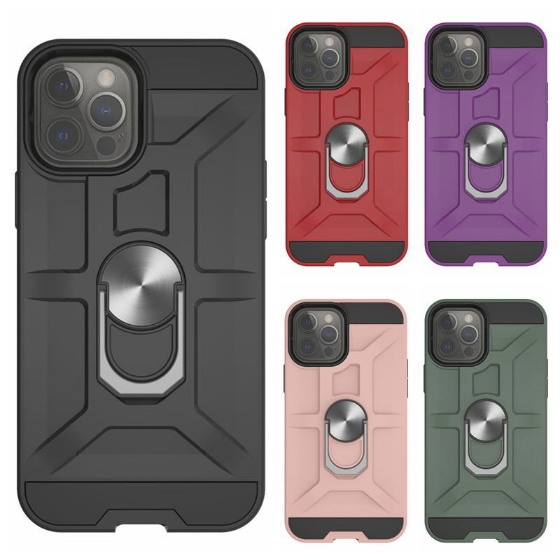 マグネット車のブラケットホルダー耐衝撃防御機ケースiPhone 12 11 PRO XS MAX XR X 8 7プラスハードPC TPUハイブリッドヘビーデューティレイヤースタンドメタルフィンガーリング電話バックカバー