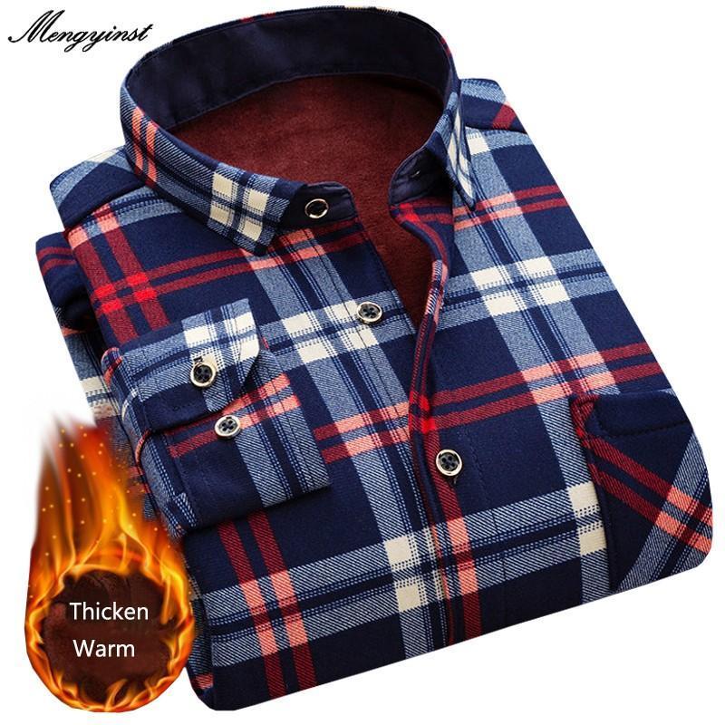 Moda hombres delgado camisas de manga larga otoño invierno engrosamiento cálido tela escocesa camisa social ropa camisa masculina vestido masculino