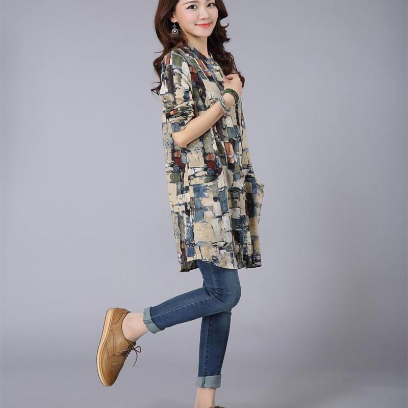 Long Shirt Women Vintage Cotton Linen Plaid Shirt Long sleeve Stand collar Ladies Casual Tops and Blouses