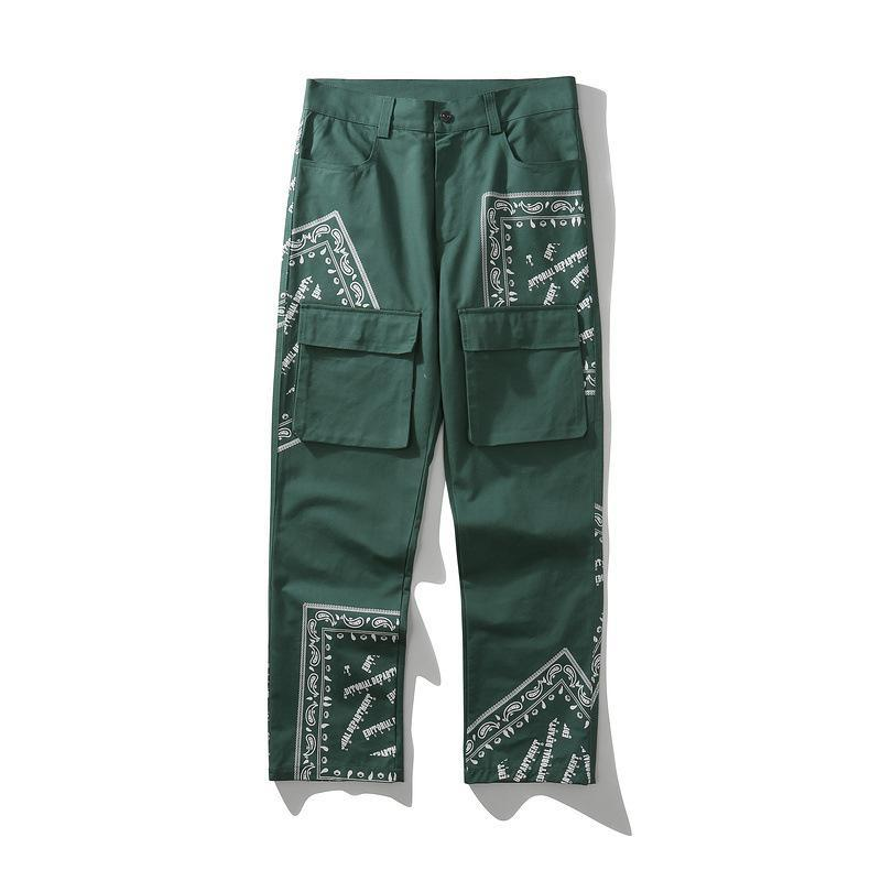 High 2021 Киряаки, мужчины, комфортабельные роскошные роскошные зеленые пейсли Западные крипсы крови повседневные брюки грузы Parkour # D14 мужские