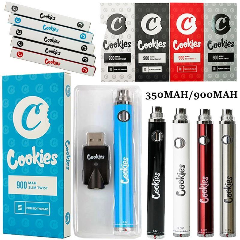 Cookies Vape Pen Battery 510 Tópico com USB Carregador Variável Variável Tensão 900mAh Pré-aquecimento SS Ajustável Dabilidade Vaporizador Baterias E Cigarros Vaes Atomizadores