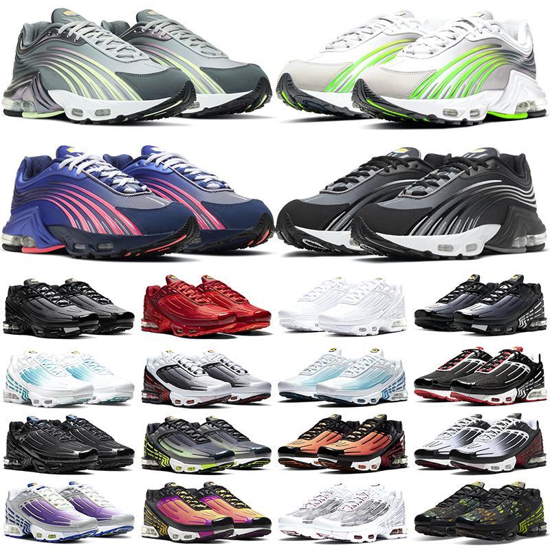 Nike air max tn plus 3 мужчины женщины кроссовки мужские кроссовки кроссовки Pre-Day тройной черный основной белый серый США мода женские кроссовки спортивные